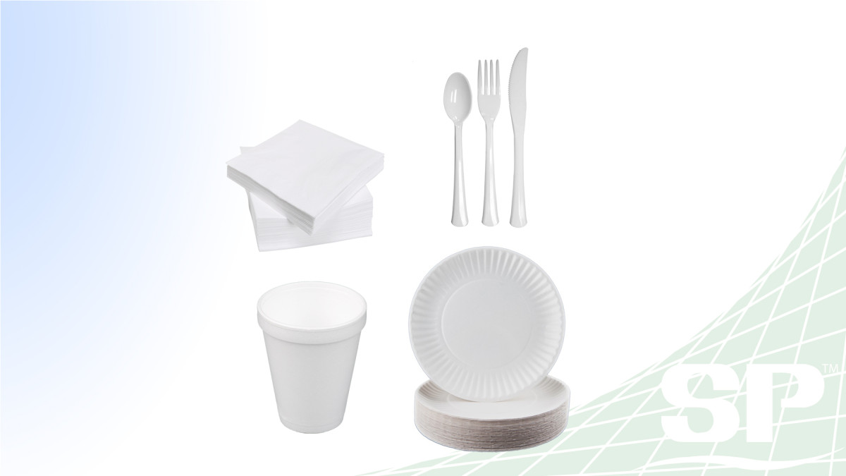 Cups, Plates, Cutlery, and Napkins